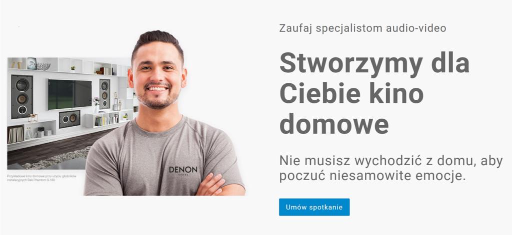 """Instalacje audio-video: zawieszenie tv 77"""" na zabudowie meblowej, Denon Store"""